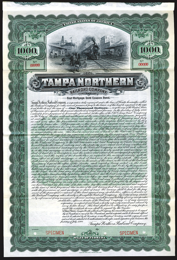 Tampa Northern Railroad Co., 1906 Specimen Bond.