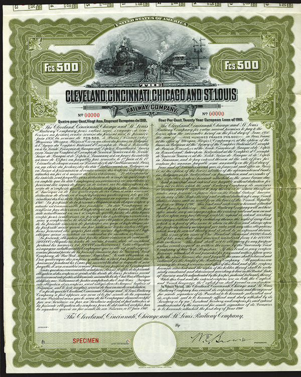 Cleveland, Cincinnati, Chicago and St. Louis Railway Co. 1910 Specimen Bond