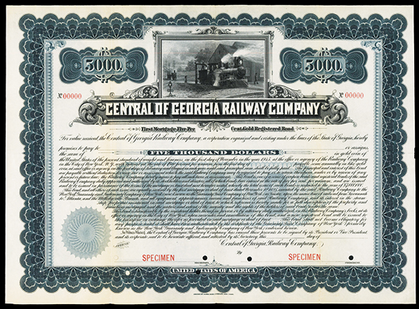 Central of Georgia Railway Co., 1895 Specimen Bond.