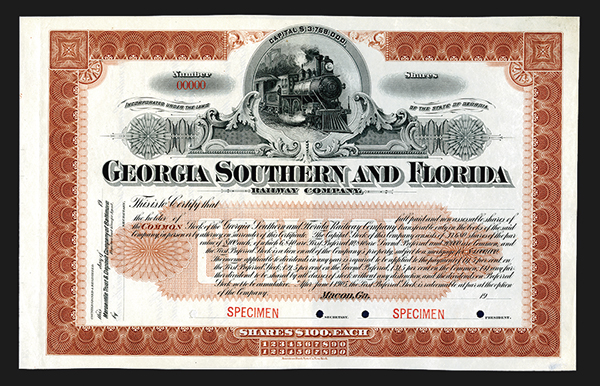 Georgia Southern and Florida Railway Co., ca.1900, Specimen Stock Certificate.