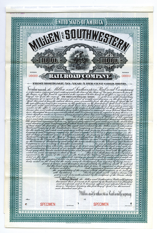 Millen and Southwestern Railroad Co., 1905 Specimen Bond.