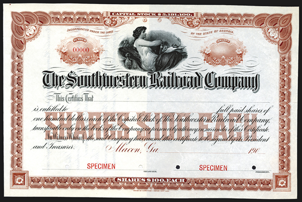 Southwestern Railroad Co., 190x Specimen Bond.