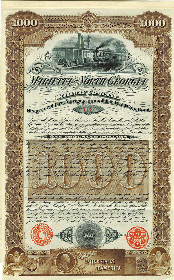 Marietta and North Georgia Railway Co., 1887 Issued Bond