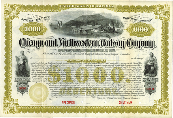 Chicago and North Western Railway Co., ca.1920-1930 Specimen Bond.