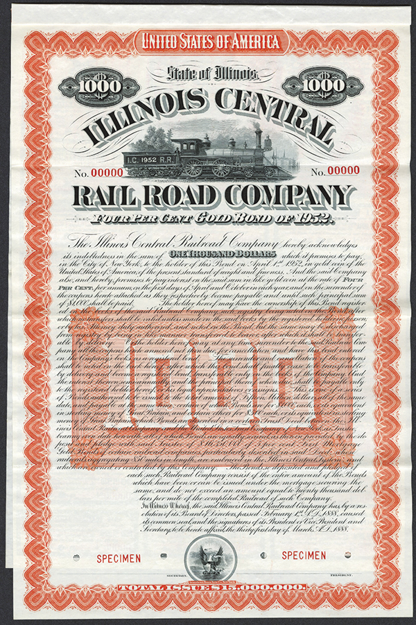 Illinois Central Rail Road Co. 1888 Specimen Bond