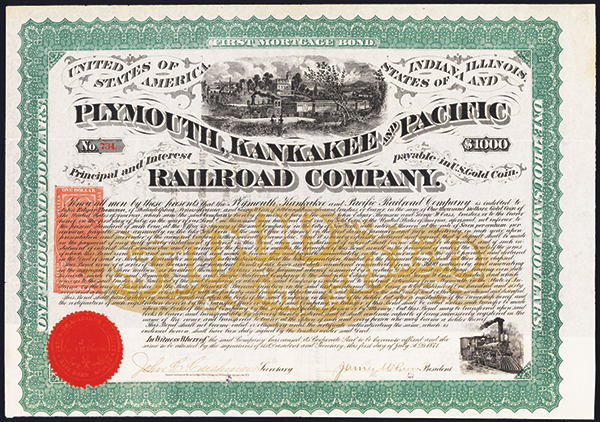 Plymouth, Kankakee and Pacific Railroad Co., 1871 Issued Bond.
