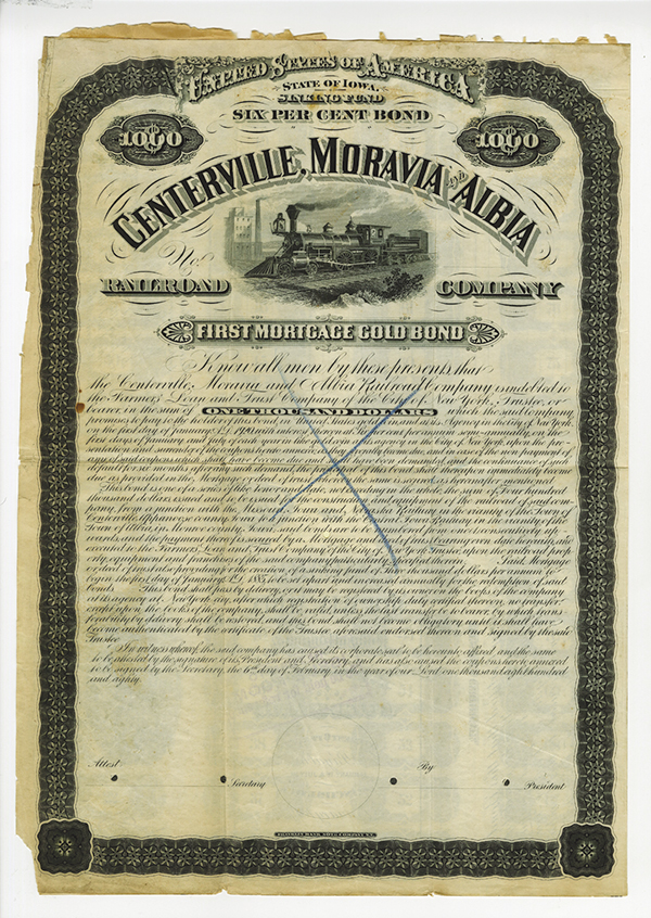 Centerville, Moravia and Albia Railroad Co., 1880 Specimen Bond Rarity, Unique in Archives.