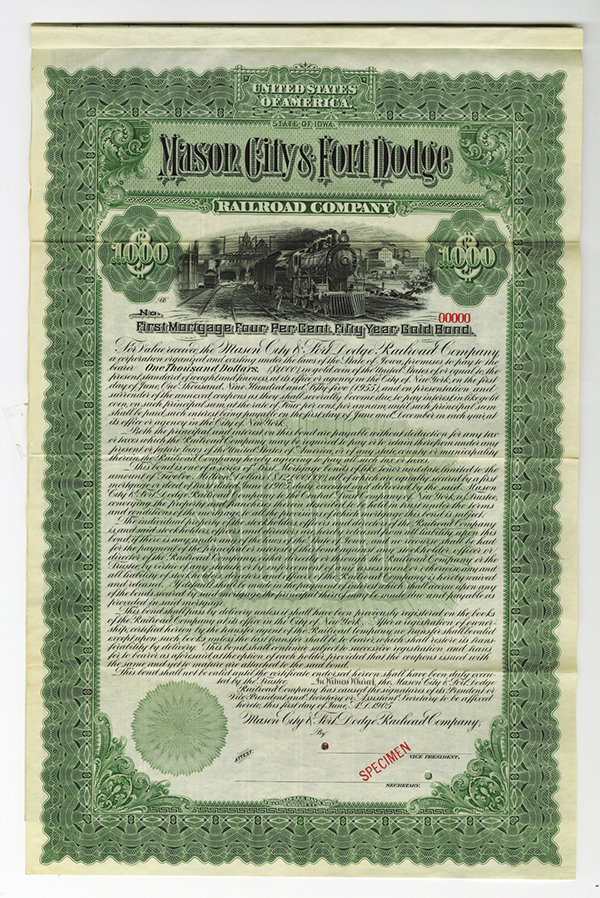 Mason City & Fort Dodge Railroad Co., 1905 Specimen Bond.