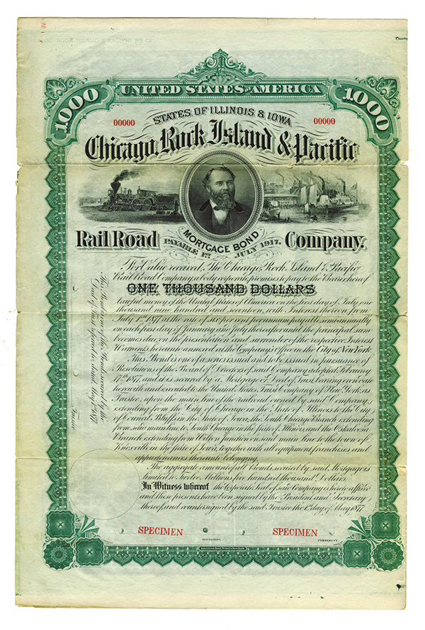 Chicago, Rock Island & Pacific Rail Road Co., 1877 Specimen Bond.