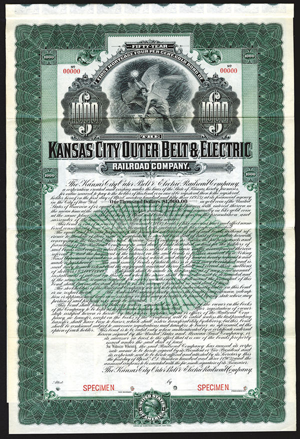 Kansas City Outer Belt & Electric Railroad Co., 1903 Specimen Bond.