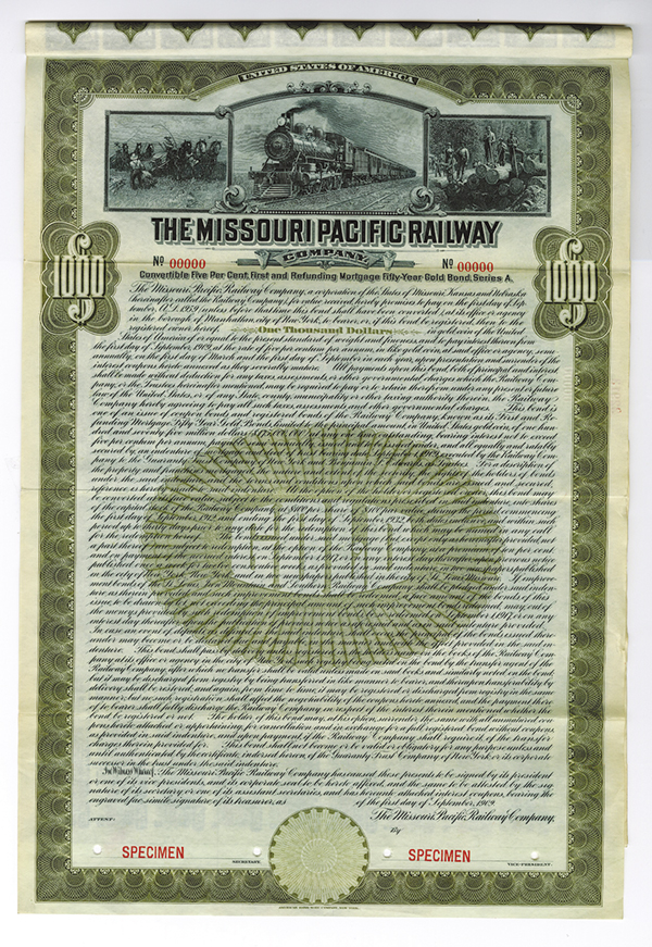 Missouri Pacific Railway Co.,, 1909 Specimen Bond.