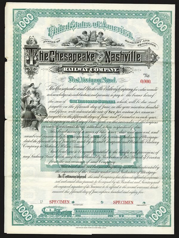 Chesapeake and Nashville Railway Co. 1885 Specimen Bond