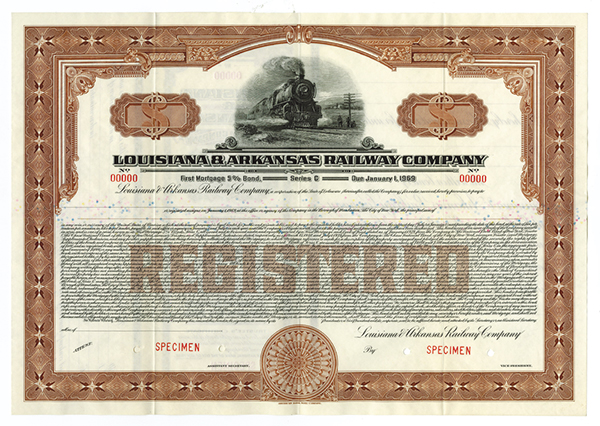 Louisiana and Arkansas Railway Co., 1939 Specimen Bond