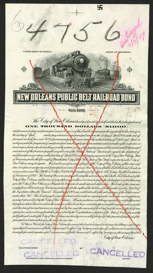 New Orleans Public Belt Railroad Bond, 1928 Proof Bond.