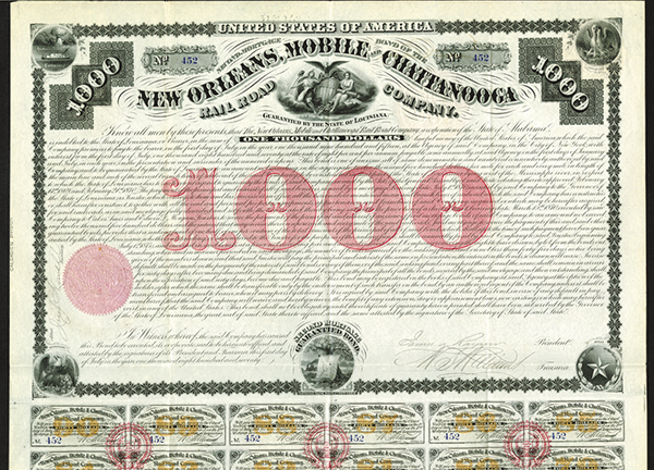 New Orleans, Mobile and Chattanooga Rail Road Co., 1887 Issued Bond