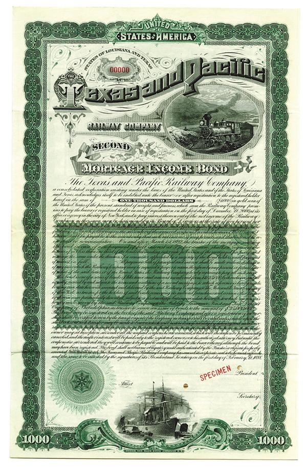 Texas and Pacific Railway Co., 1888 Specimen Bond.