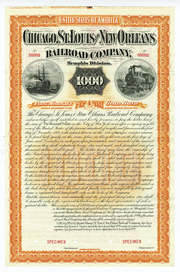 Chicago, St. Louis and New Orleans Railroad Co. 1881. Specimen Bond.