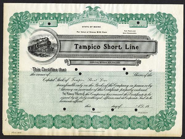 Tampico Short Line, ca.1907 Specimen Stock Certificate.