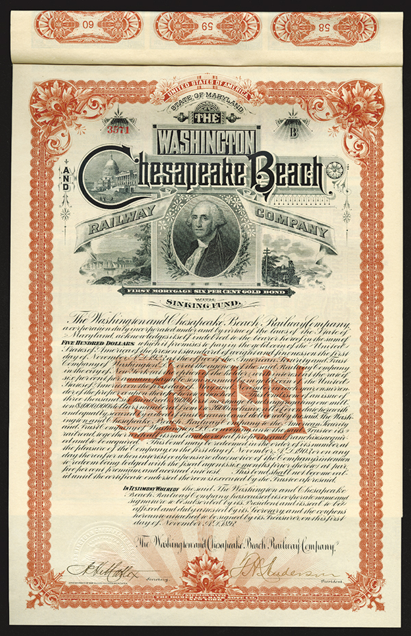 Washington Chesapeake Beach Railway Co., 1893 Issued Bond