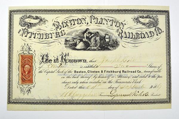 Boston, Clinton & Fitchburg Railroad Co. 1867.
