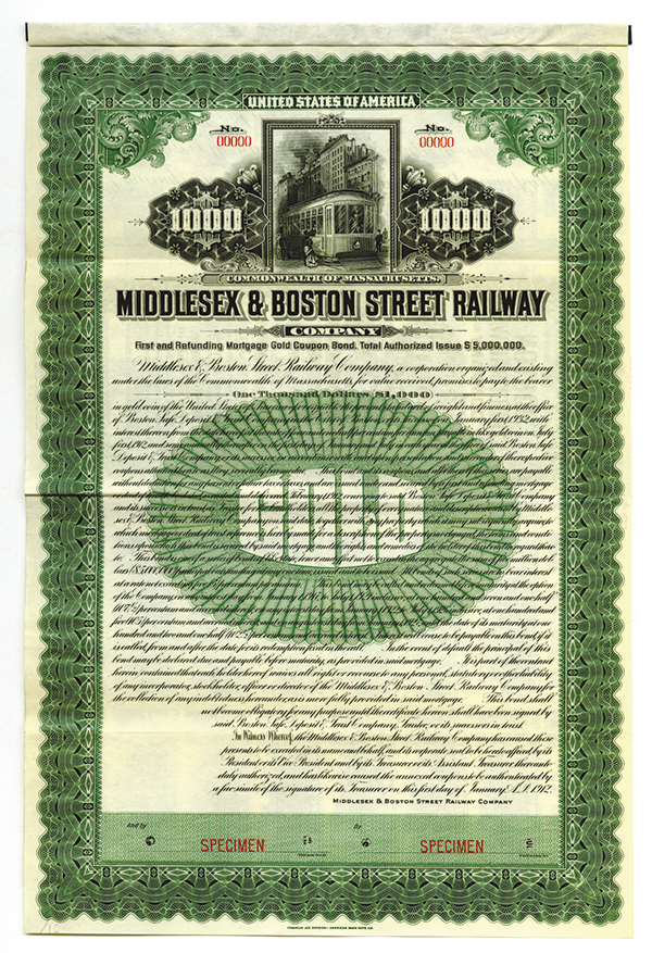 Middlesex & Boston Street Railway Co., 1912 Specimen Bond.