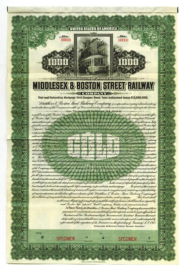 Middlesex & Boston Street Railway Co., 1912 Specimen Bond.