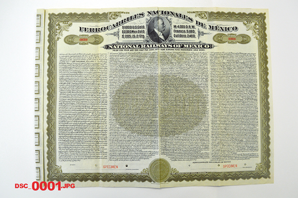 National Railways of Mexico 1907 Specimen Bond