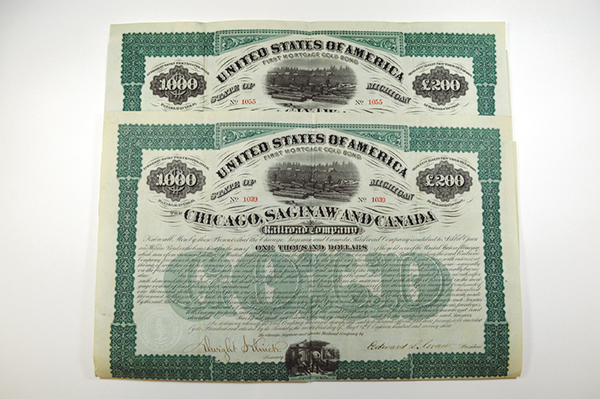 Chicago, Saginaw and Canada Railroad Co., 1873 Issued Bond Pair.