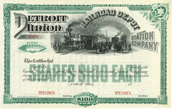 Detroit Union Railroad Depot and Station Co., ca.1880-1890's Specimen Stock