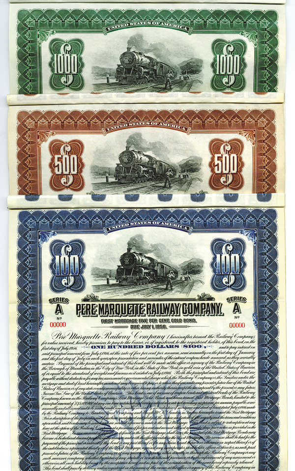 Pere Marquette Railway Co., 1916,  Specimen Bond Trio.