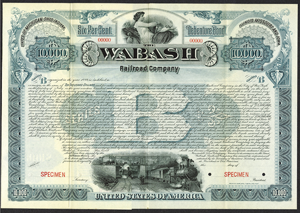 Wabash Railroad Co. ca.1900-1910 Specimen Bond