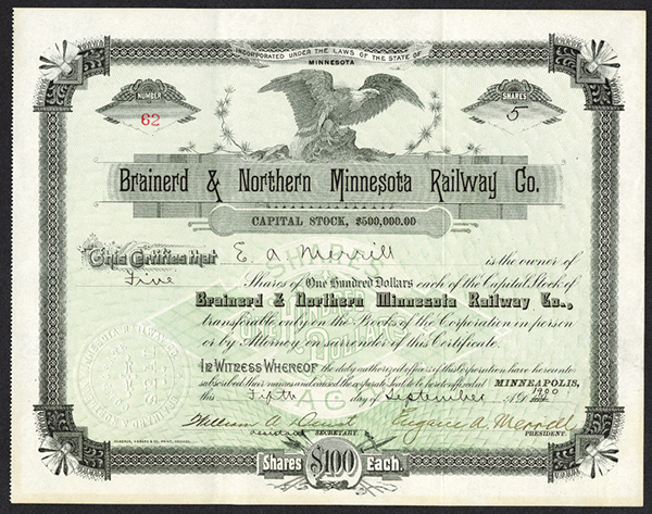 Brainerd and Northern Minnesota Railway Co., 1900 Issued Stock