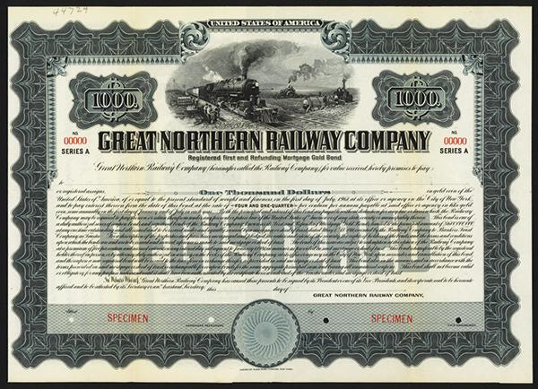 Great Northern Railway Co., 1911 Specimen Bond.