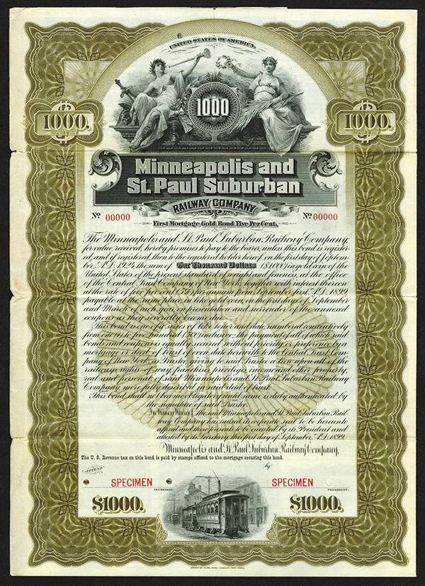 Minneapolis and St. Paul Suburban Railway Co. 1899 Specimen Bond