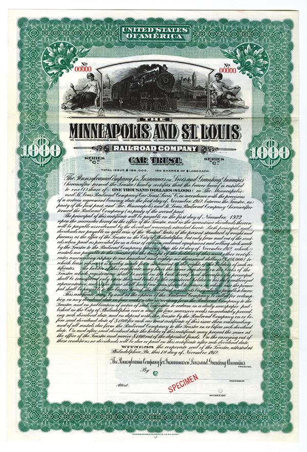 Minneapolis and St. Louis Railroad Co., Car Trust, 1912 Specimen Bond.