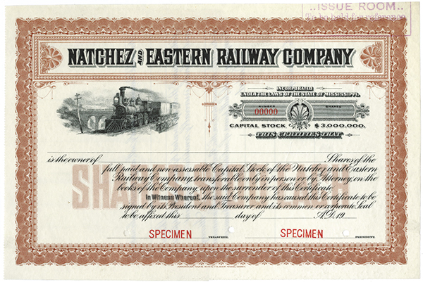 Natchez and Eastern Railway Co., ca.1920-1930 Specimen Stock