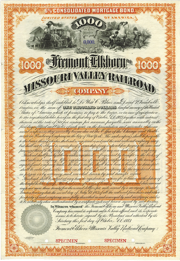 Fremont, Elkhorn and Missouri Valley Railroad Co., 1883 Specimen Bond