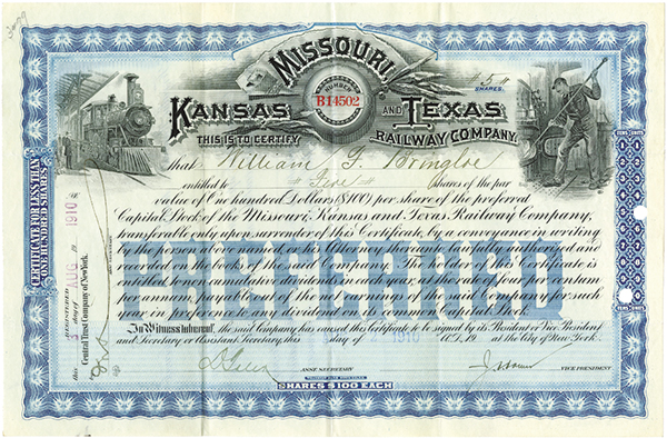 Missouri, Kansas and Texas Railway Co., 1910 Issued Stock