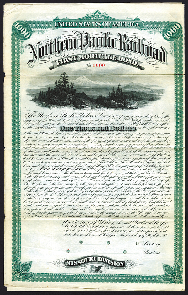 Northern Pacific Railroad Co., Missouri Division, 1879, $1000 Specimen Bond.