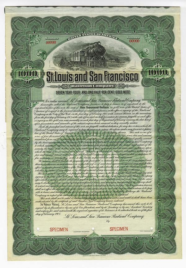 St. Louis and San Francisco Railroad Co. 1905. Specimen Bond.