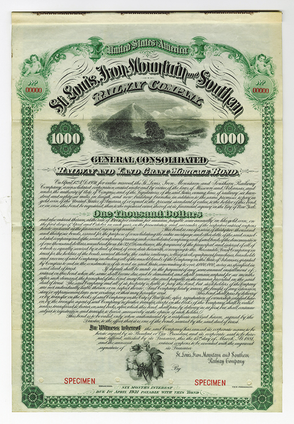 St. Louis, Iron Mountain and Southern Railway Co., 1881, $1000 Specimen Bond.