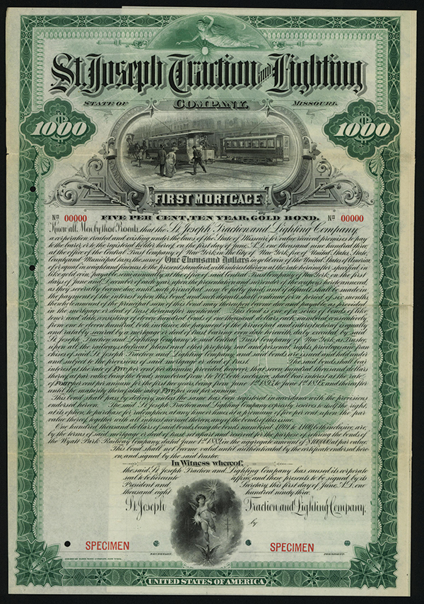 St. Joseph Traction and Lighting Co., Specimen Bond.