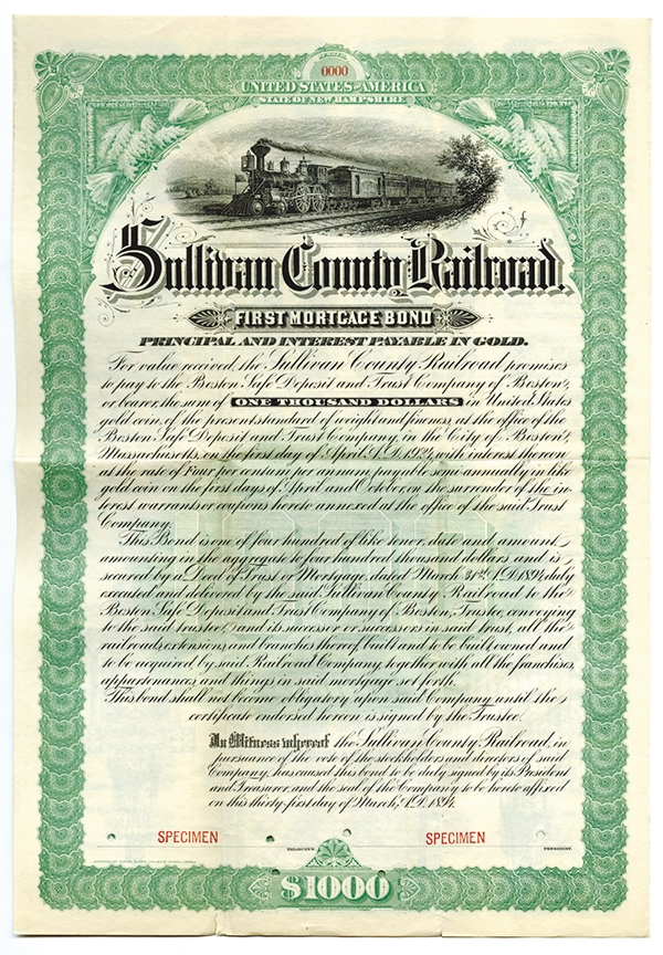 Sullivan County Railroad, 1894 Specimen Bond.