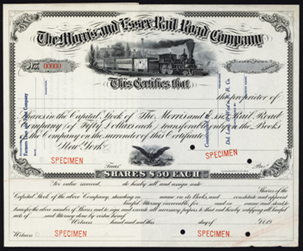 Morris & Essex Rail Road Co. ca.1910-1920 Specimen Stock.