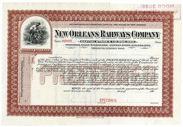 New Orleans Railways Co., ca.1900-1910 Specimen Stock