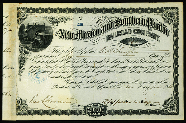 New Mexico and Southern Pacific Railroad Co., 1880 Issued Stock.