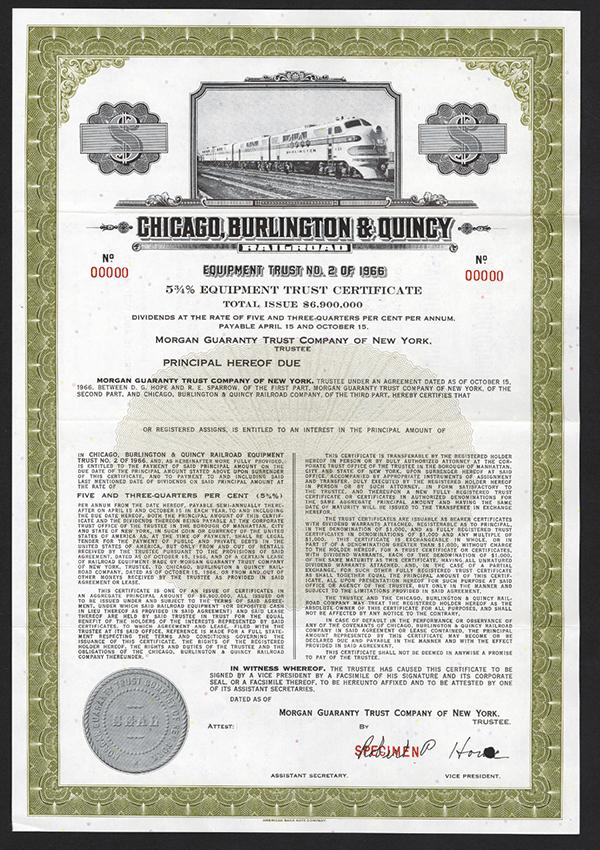 Chicago , Burlington and Quincy Railroad. Ca.1940-1950 Specimen Bond