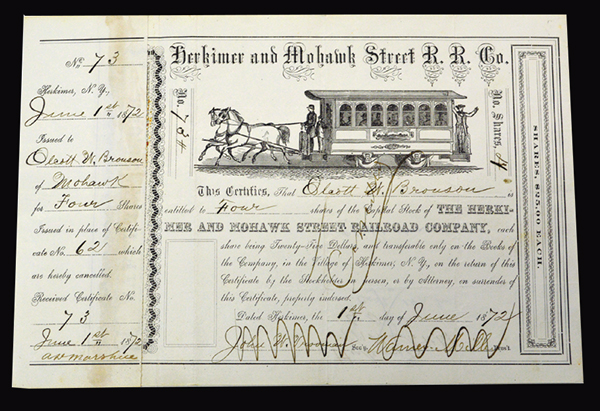 Herkimer & Mohawk Street Rail Road Co, 1872 Issued Stock Certificate