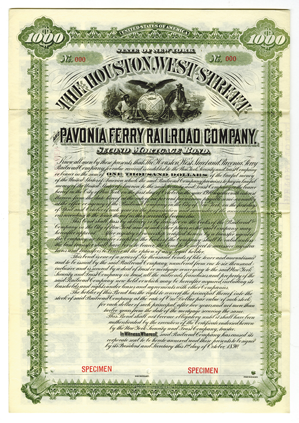 Houston, West Street and Pavonia Ferry Railroad Co., 1890 Specimen Bond.