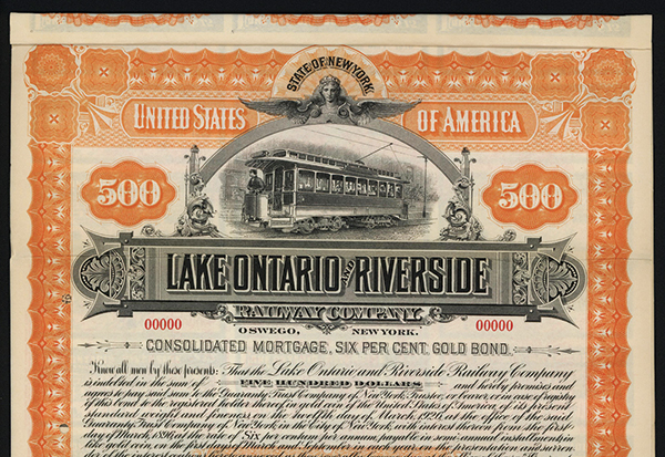 Lake Ontario and Riverside Railway Co., 1896 Specimen Bond.
